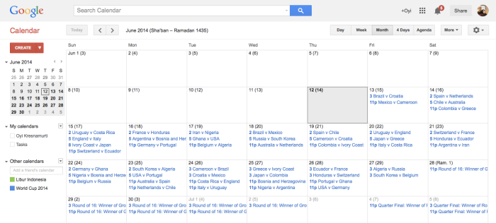 FIFA World Cup 2014 Calendar
